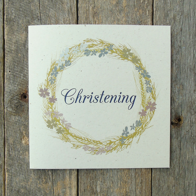 Christening Wreath Card