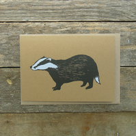 Rustic Badger Card