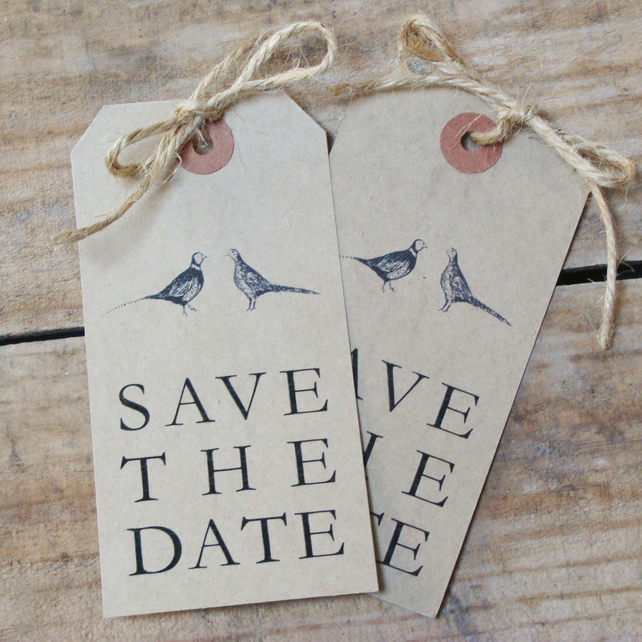 Pheasant Luggage tag Save the Date Cards