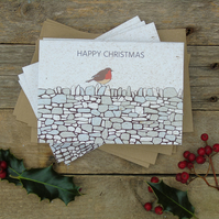 Robin on a wall Christmas Cards (Pack of 5)