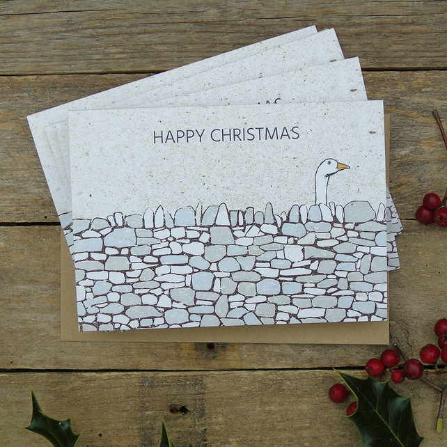 Christmas Goose drystone wall cards (Pack of 5)