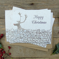 Rudolph drystone Wall Christmas Cards (Pack of 5)