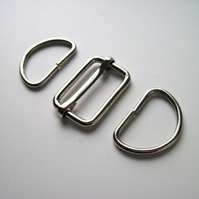"1"" Bag slider & D rings set SILVER"