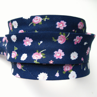 Bias binding -  3m navy and pink floral