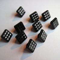 Retro Glam Black Square Buttons - 12mm