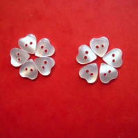 Heart buttons, white