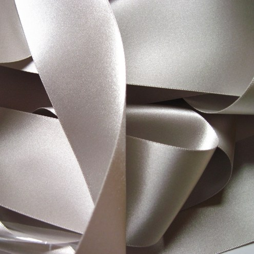 50mm satin ribbon, silver grey