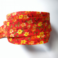 Bias binding -  3m red and yellow floral