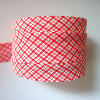 Bias binding -  3m red checked gingham floral
