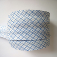 Bias binding -  3m light blue checked gingham floral