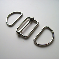 "1.5""  Bag slider & D rings set SILVER"