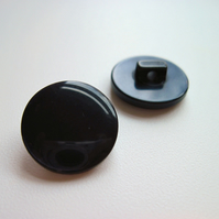 17mm black pearl shank buttons, x10