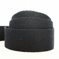 Light weight cotton webbing- BLACK
