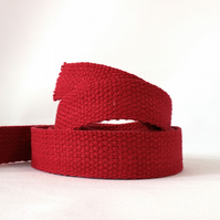 Heavy weight cotton webbing- RED