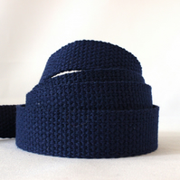 Heavy weight cotton webbing- NAVY BLUE
