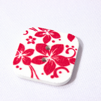 Wooden square red floral buttons 10x