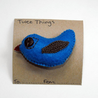 Felt and crochet Bird Brooch