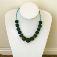 Green Felt Ball Necklace