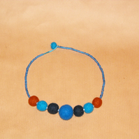 Blue felt ball necklace