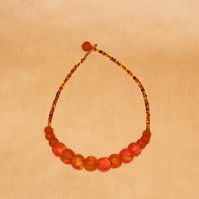 Orange felt ball necklace