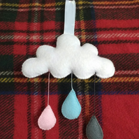 Cloud and raindrop hanging decoration