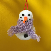 Christmas Snowman hanging bauble decoration