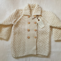 Hand knitted baby-toddler cardigan - cream