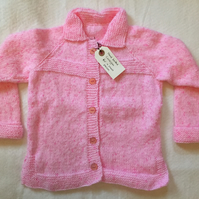 Hand knitted baby-toddler cardigan - pink