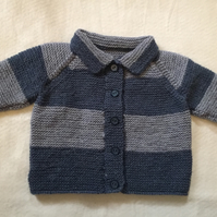 Hand knitted baby cardigan - blue grey