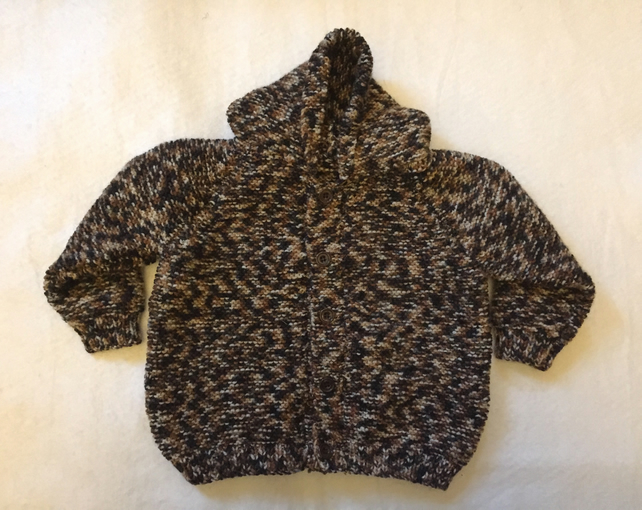 Hand knitted baby cardigan with pixie hood - brown