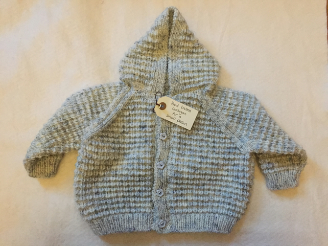 Hand knitted baby cardigan with pixie hood - pale blue