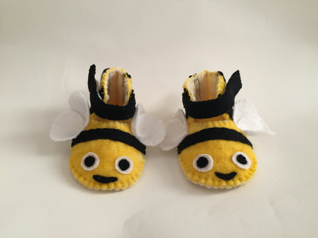 Hand felted bumble bee baby booties