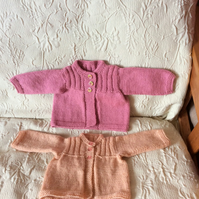 Hand knitted baby cardigans - girls