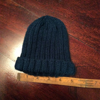 Hand knitted New born baby hat - navy blue