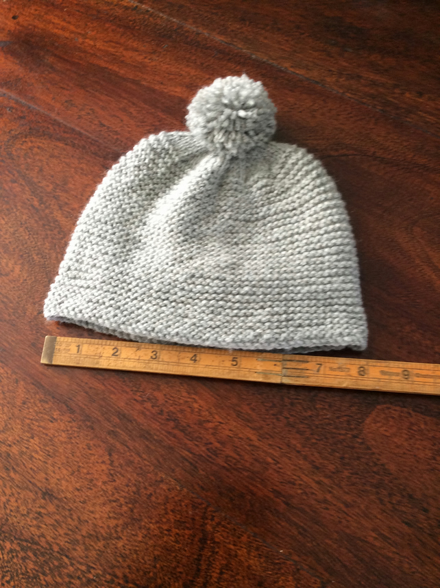 Hand knitted baby bobble hat - grey