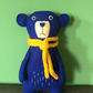 Blue felt teddy bear