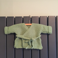 Hand knitted baby warp cardigan - green