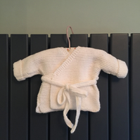 Hand knitted baby warp cardigan - cream