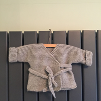 Hand knitted baby wrap cardigan - grey