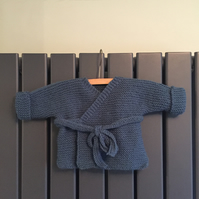 Hand knitted baby wrap cardigan - blue