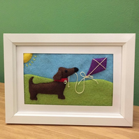 Sausage dog flying kite picture frame