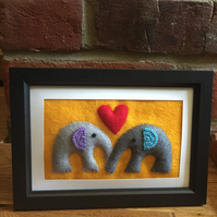Elephants in love - felt picture
