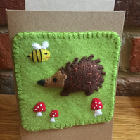 Hedgehog greetings card - felt picture