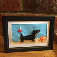 Sausage dog (dachshund) at the beach - felt picture