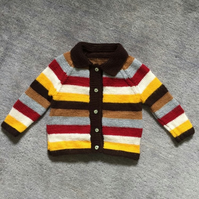 Stripy knitted childrens cardigan