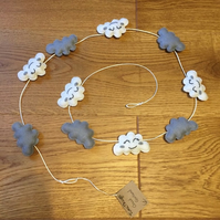 Felt cloud garland decoration