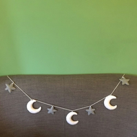 Star and Moon felt garland decoration