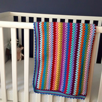 Rainbow stripe baby blanket