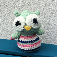 Stripey owl - mint green