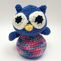 Stripey owl - blue and pink